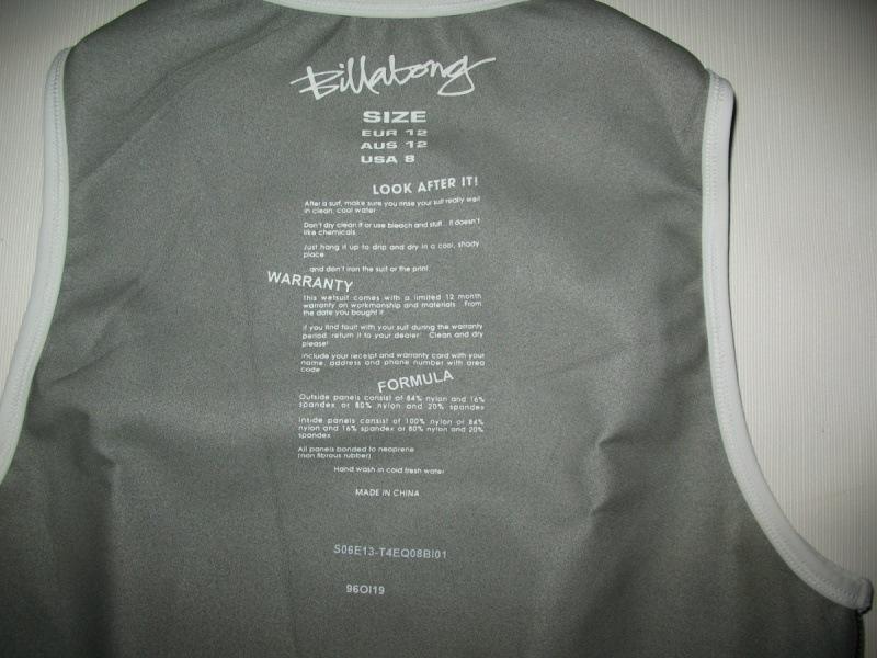 Футболка BILLABONG Equator 0. 5mm Neoprene Vest lady  (размер 12M) - 2