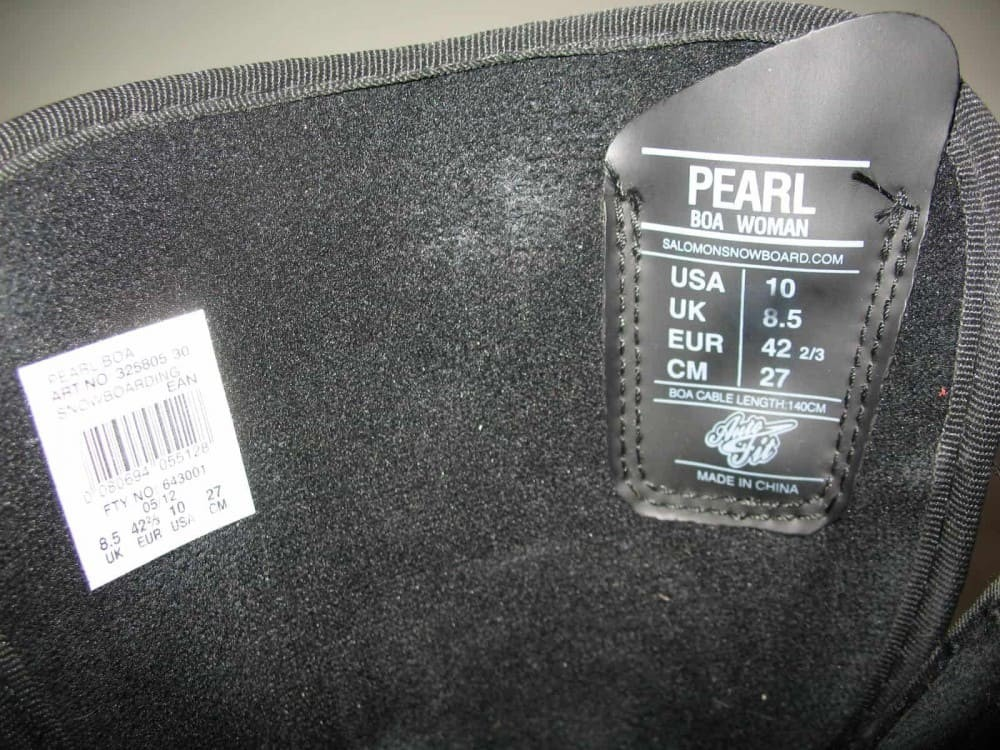 Ботинки SALOMON pearl boa snowboard boots (размер US10/UK8,5/EU42,5(на стопу до 270mm)) - 12