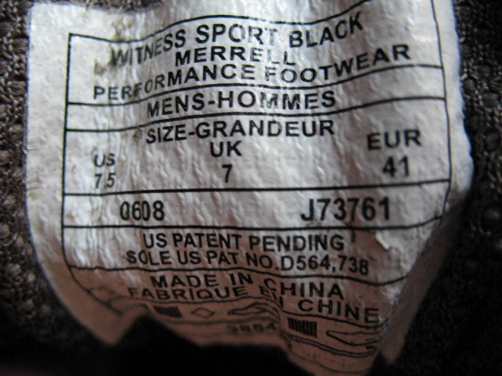 Кроссовки MERRELL witness sport shoes (размер UK7/US7,5/EU41(маломерят(на стопу 250mm)) - 5