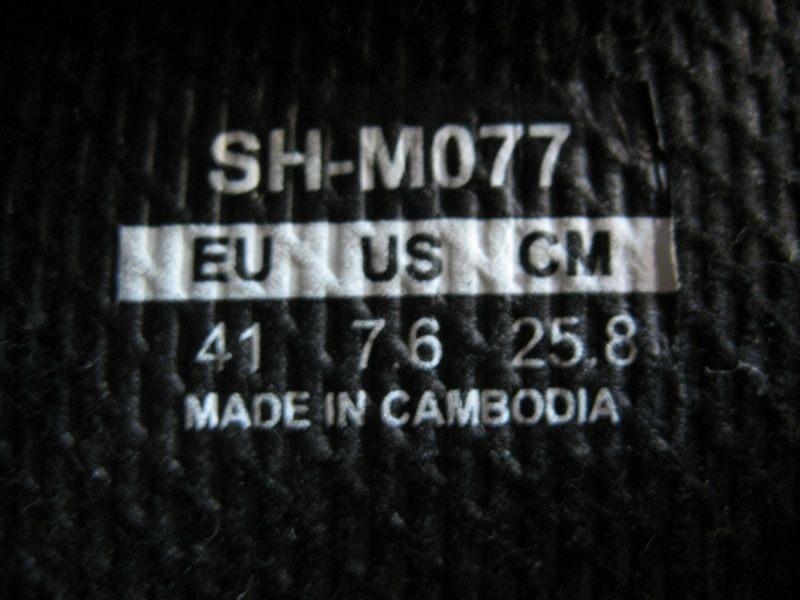 Велообувь SHIMANO SH-M077 (размер US7, 5;EU41(на стопу до 258 mm)) - 11